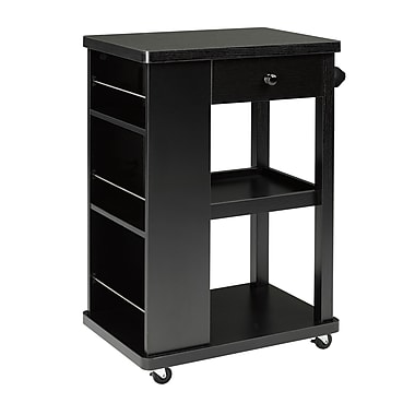 Brassex 151095 Kitchen Cart with Storage Drawer, 2 Storage Shelves and 3 Side Spice Racks, Black