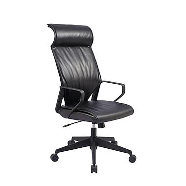 TygerClaw – Fauteuil de bureau moderne à dossier élevé avec appui-tête, 25,6 x 13 x 30,3 po, noir