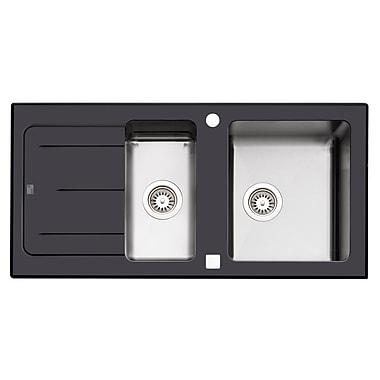 Kuisinox Sinks – Évier de cuisine double en verre lustré et en acier inoxydable de 45 po, noir