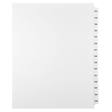 Mark Maker Legal Exhibit Index Tab Set of White Single Tabs, 1/15th Cut, Letter Size, No Holes, Number 151 - 165