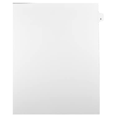 Mark Maker Legal Exhibit Index Tab White Single Tabs, 1/25th Cut, Letter Size, No Holes, Number 3, 25/Pack
