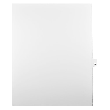 Mark Maker Legal Exhibit Index Tab White Single Tabs, 1/25th Cut, Letter Size, No Holes, Number 15, 25/Pack