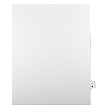 Mark Maker Legal Exhibit Index Tab White Single Tabs, 1/25th Cut, Letter Size, No Holes, Number 21, 25/Pack