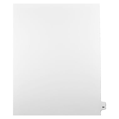 Mark Maker Legal Exhibit Index Tab White Single Tabs, 1/25th Cut, Letter Size, No Holes, Number 24, 25/Pack