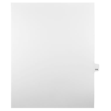 Mark Maker Legal Exhibit Index Tab White Single Tabs, 1/25th Cut, Letter Size, No Holes, Number 116, 25/Pack