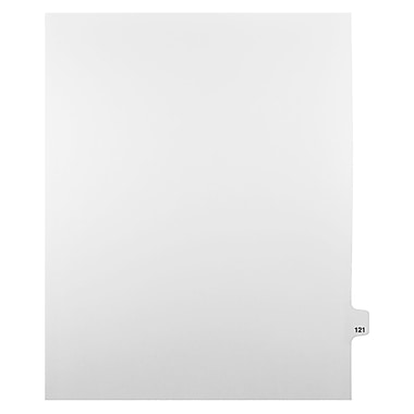 Mark Maker Legal Exhibit Index Tab White Single Tabs, 1/25th Cut, Letter Size, No Holes, Number 121-140, 25/Pack