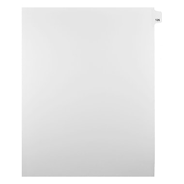 Mark Maker Legal Exhibit Index Tab White Single Tabs, 1/25th Cut, Letter Size, No Holes, Number 126, 25/Pack