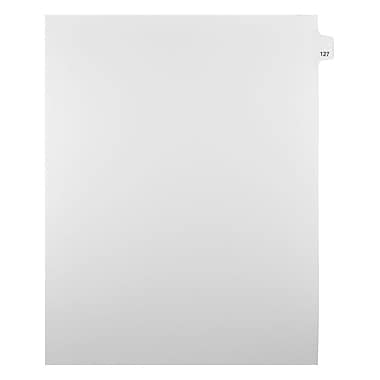Mark Maker Legal Exhibit Index Tab White Single Tabs, 1/25th Cut, Letter Size, No Holes, Number 127, 25/Pack