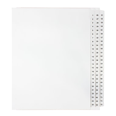 Mark Maker Legal Exhibit Index Tab Set of White Single Tabs, 1/25th Cut, Letter Size, No Holes, Number 1 - 75