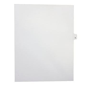 Mark Maker Legal Exhibit Index Tab White Single Tabs, 1/26th Cut, Letter Size, No Holes, Letter K, 25/Pack