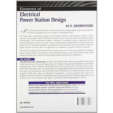 Elements of Electrical Power Station Design, New Book (9788120336476)