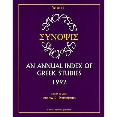 Synopsis, 1: An Annual Index of Greek Studies, 1992 (New Directions in Therapeutic Intervention), New Book (9789057025419)