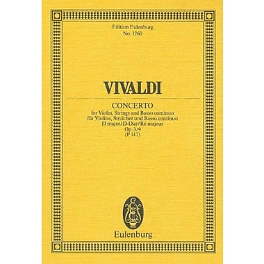 VIOLIN CONCERTO FOR VIOLIN STRINGS AND BASS OP3/9 D MAJOR (Edition Eulenburg), New Book (9783795761820)