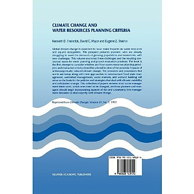 Climate Change and Water Resources Planning Criteria, New Book (9789048149124)
