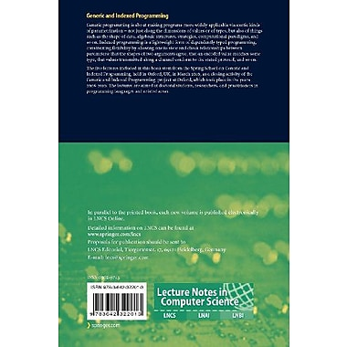 Generic and Indexed Programming (Lecture Notes in Computer Science), Used Book (9783642322013)