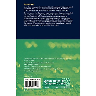 Reasoning Web - Semantic Technologies for Advanced Query Answering: 8th International Summer School 20, New Book (9783642331572)