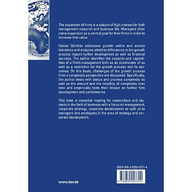 Firm Growth, Diversification and Success: An Analysis of the Expansion Path within and across Industr (9783835007314)