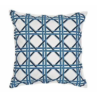 Greendale Home Fashions Cane Cotton Canvas Throw Pillow; Blue