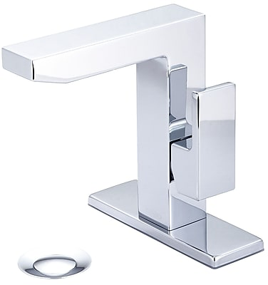 Pioneer Mod Bathroom Faucet w/ Deck Cover Plate; Brushed Nickel