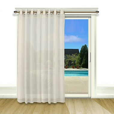Ricardo Trading Bal Harbour Patio Solid Semi-Sheer Grommet Single Curtain Panel; Ivory