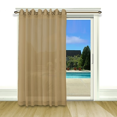 Ricardo Trading Bal Harbour Patio Solid Semi-Sheer Grommet Single Curtain Panel; Taupe