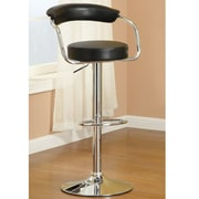 Poundex Adjustable Height Swivel Bar Stool (Set of 2); Black