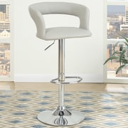 Poundex Adjustable Height Bar Stool (Set of 2); Light Grey
