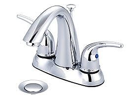 Olympia Faucets Centerset Standard Bathroom Faucet w/ Drain Assembly; PVD Brushed Nickel