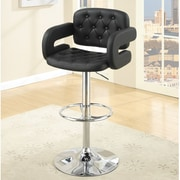 Poundex Adjustable Height Bar Stool; Black