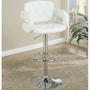 Poundex Adjustable Height Bar Stool; White
