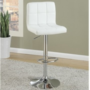 Poundex Adjustable Height Swivel Bar Stool (Set of 2); White