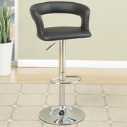 Poundex Adjustable Height Bar Stool (Set of 2); Black