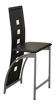 Poundex Side Chair (Set of 2); Black
