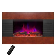 AKDY Pebble and Log Interchangeable Wall Mount Electric Fireplace