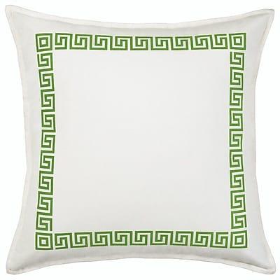 Greendale Home Fashions Greek Key Cotton Canvas Throw Pillow; Green