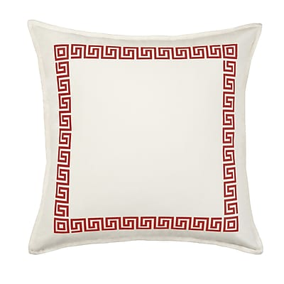 Greendale Home Fashions Greek Key Cotton Canvas Throw Pillow; Red
