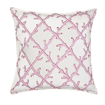 Greendale Home Fashions Lattice Cotton Canvas Throw Pillow; Pink