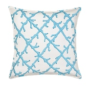 Greendale Home Fashions Lattice Cotton Canvas Throw Pillow; Turquoise