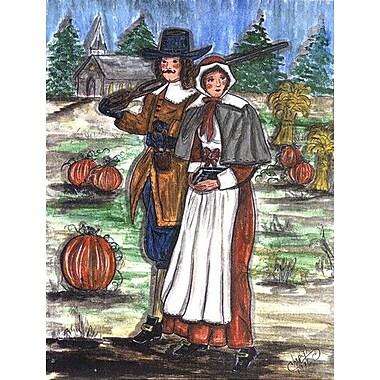 Caroline's Treasures Pilgrims Thanksgiving 2-Sided Garden Flag