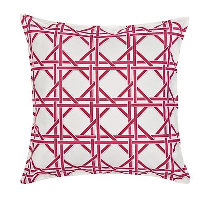 Greendale Home Fashions Cane Cotton Canvas Throw Pillow; Pink