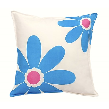 Greendale Home Fashions Daisy Cotton Canvas Throw Pillow; Blue