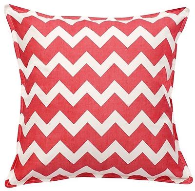 Greendale Home Fashions Chevron Cotton Canvas Throw Pillow; Pink