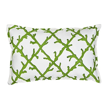 Greendale Home Fashions Lattice Cotton Canvas Lumbar Pillow; Green