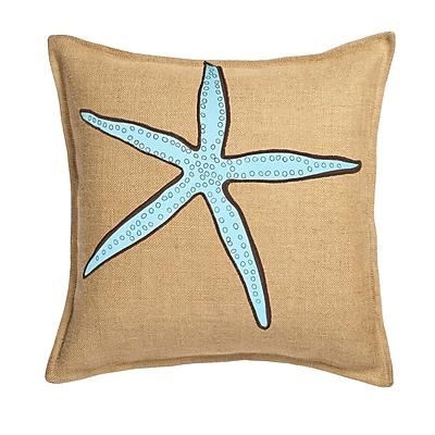 Greendale Home Fashions Applique Burlap Throw Pillow; Blue Star