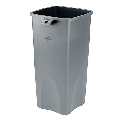 Rubbermaid® Untouchable® Plastic Waste Receptacle, Gray, 23 gal.