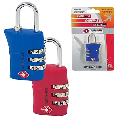 Merangue Travel Approved Combination Lock, Red and Blue, 12/Pack