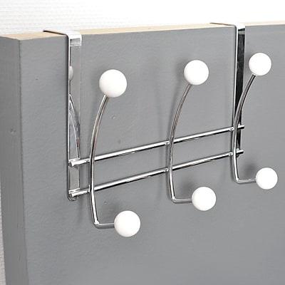 Evideco 6-Hook Over-the-Door Hook Rack; White