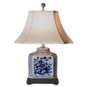 Oriental Furniture Porcelain Flat Jar 24'' Table Lamp
