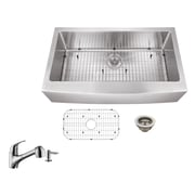 Soleil 36'' x 20.75'' Apron Front Single Bowl Undermount Stainless Steel Kitchen Sink w/ Faucet
