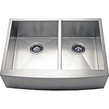 Alpha International 33'' x 21.62'' Apron Farm 60/40 Double Bowl Kitchen Sink